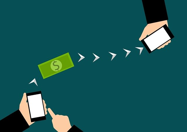 Illustration of money being transferred using a mobile app.